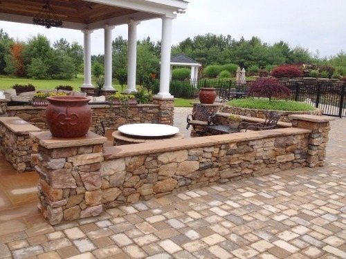 Custom Fire Pit & Seating Wall in Annapolis, MD.